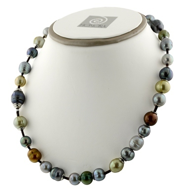 Sterling Silver 9-12mm Dark Multi Ringed Freshwater Cultured Pearl on Chocolate Leather 18 Necklace