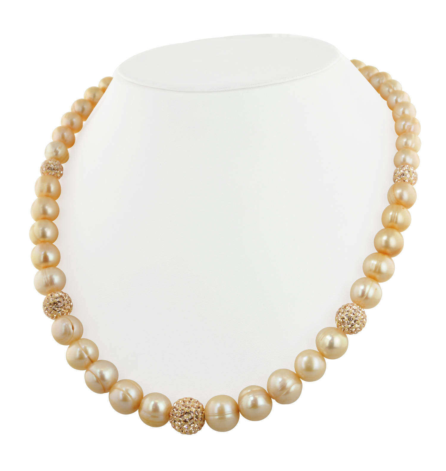 Sterling Silver 8-12mm Champagne Ringed Freshwater Cultured Pearl with Pave Crystal Beads 18 Necklace