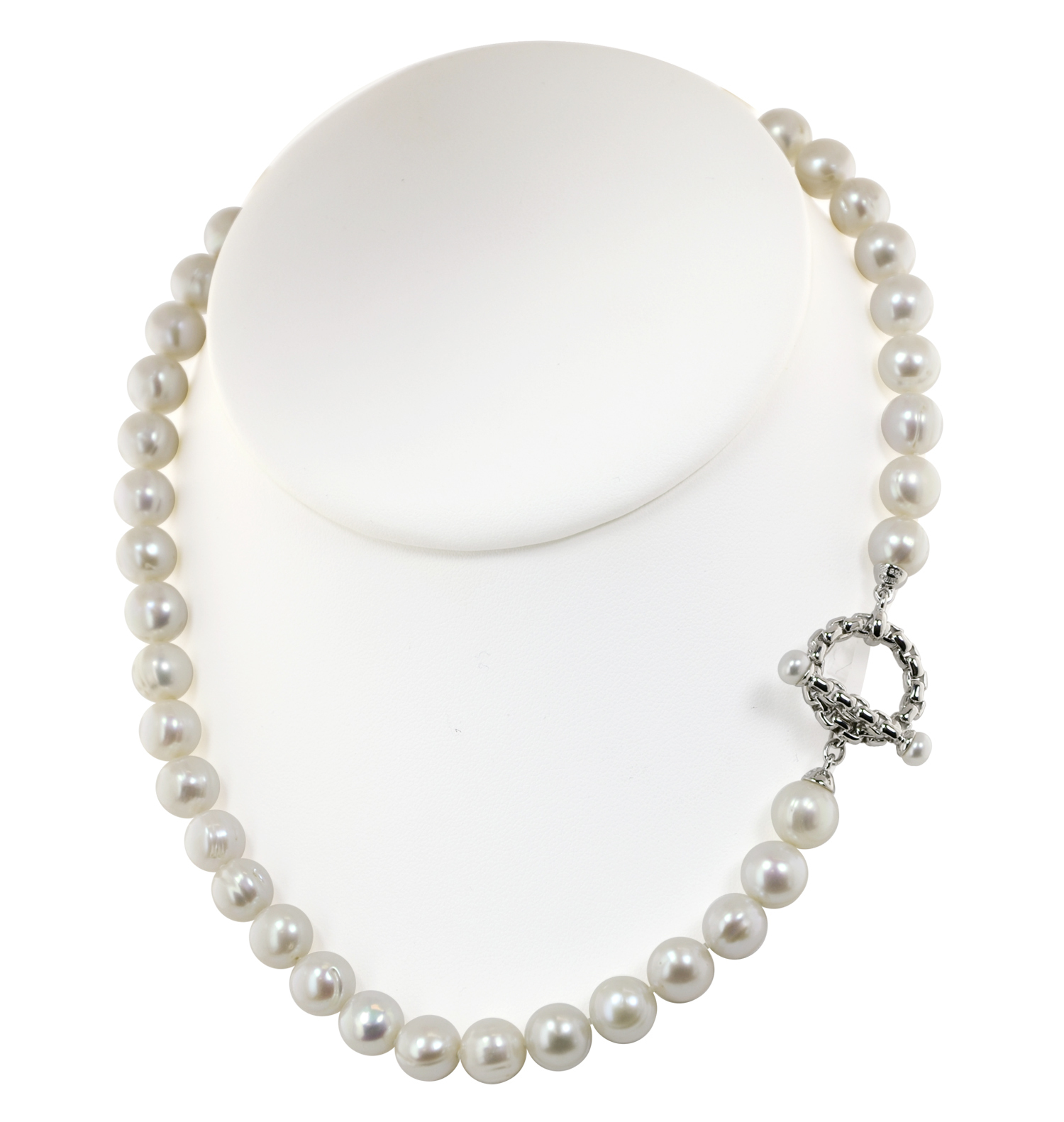 Sterling Silver 5-5.5mm Button and 9-10mm Ringed White Freshwater Cultured Pearl Toggle 18 Necklace