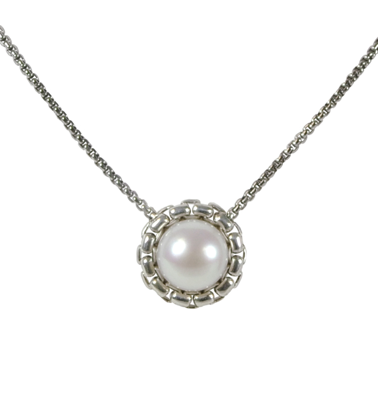 Sterling Silver 11-11.5mm White Button Freshwater Cultured Pearl 18 Necklace