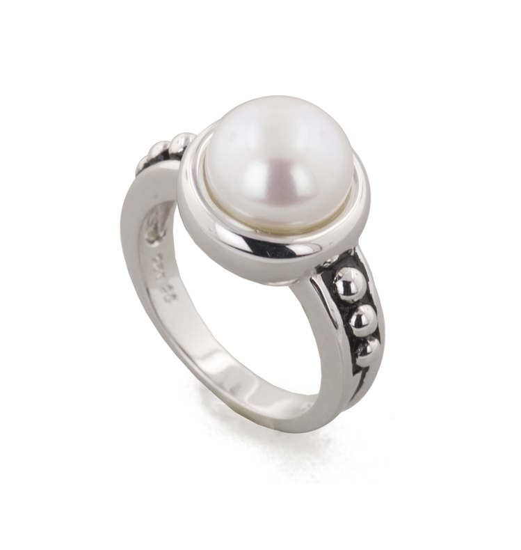 Sterling Silver 9.5-10MM White Freshwater Cultured Pearl Button Pallini Ring