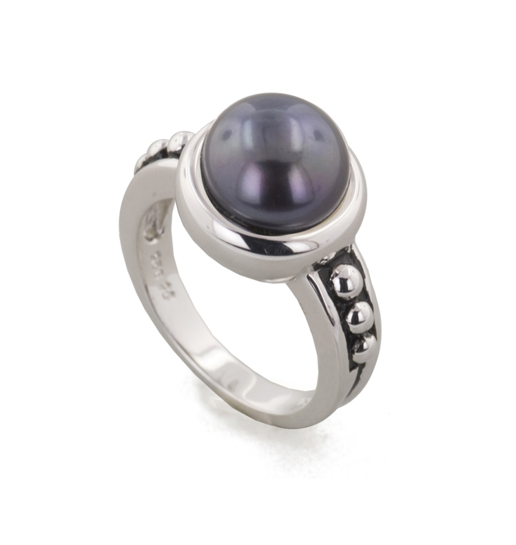 Sterling Silver 9.5-10MM Black Freshwater Cultured Pearl Button Pallini Ring