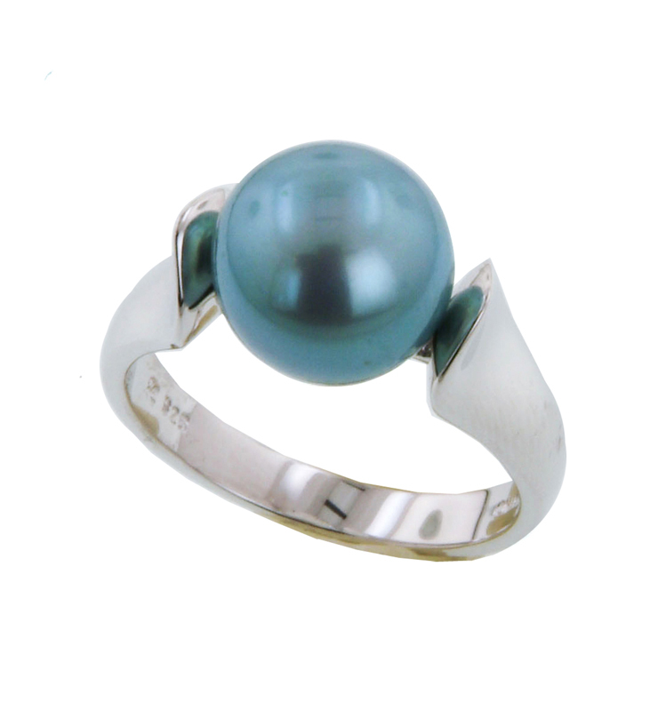 Sterling Silver 10-10.5MM Teal Freshwater Cultured Pearl Ring
