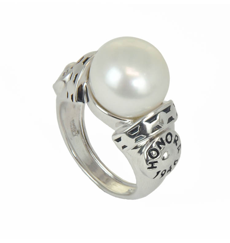 Sterling Silver 12.5-13MM White Button Freshwater Cultured Pearl Ring