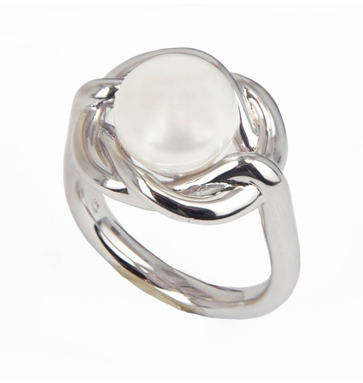 Sterling Silver 10-10.5MM White Button Freshwater Cultured Pearl Ring