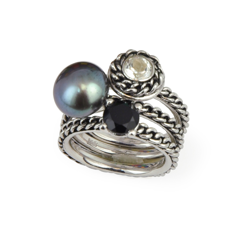 Sterling Silver 10-10.5MM Black Button Freshwater Cultured Pearl White Topaz and Black Onyx Stack Ring