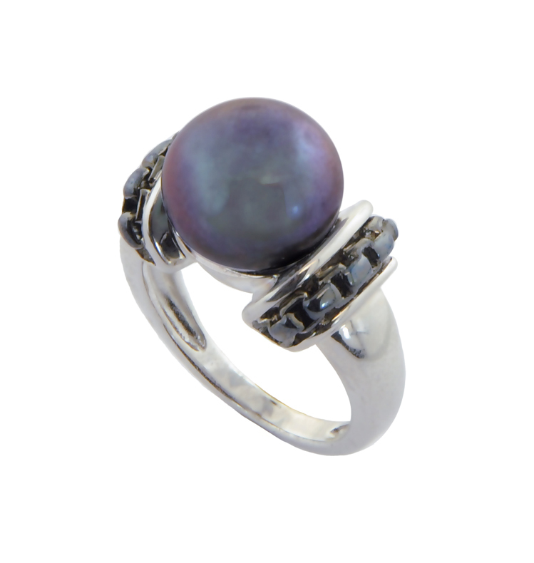 Sterling Silver 11-11.5mm Black Button Freshwater Cultured Pearl Black Rhodium Ring