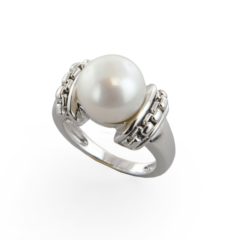 Sterling Silver 11-11.5mm White Button Freshwater Cultured Pearl Ring