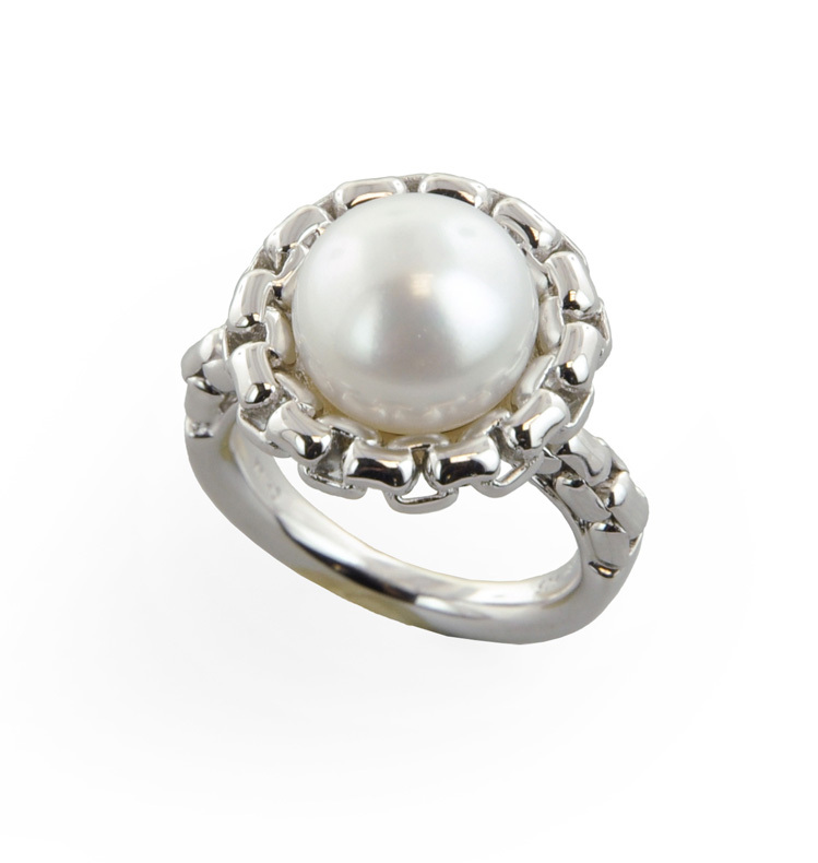 Sterling Silver 11.5-12mm White Button Freshwater Cultured Pearl Ring
