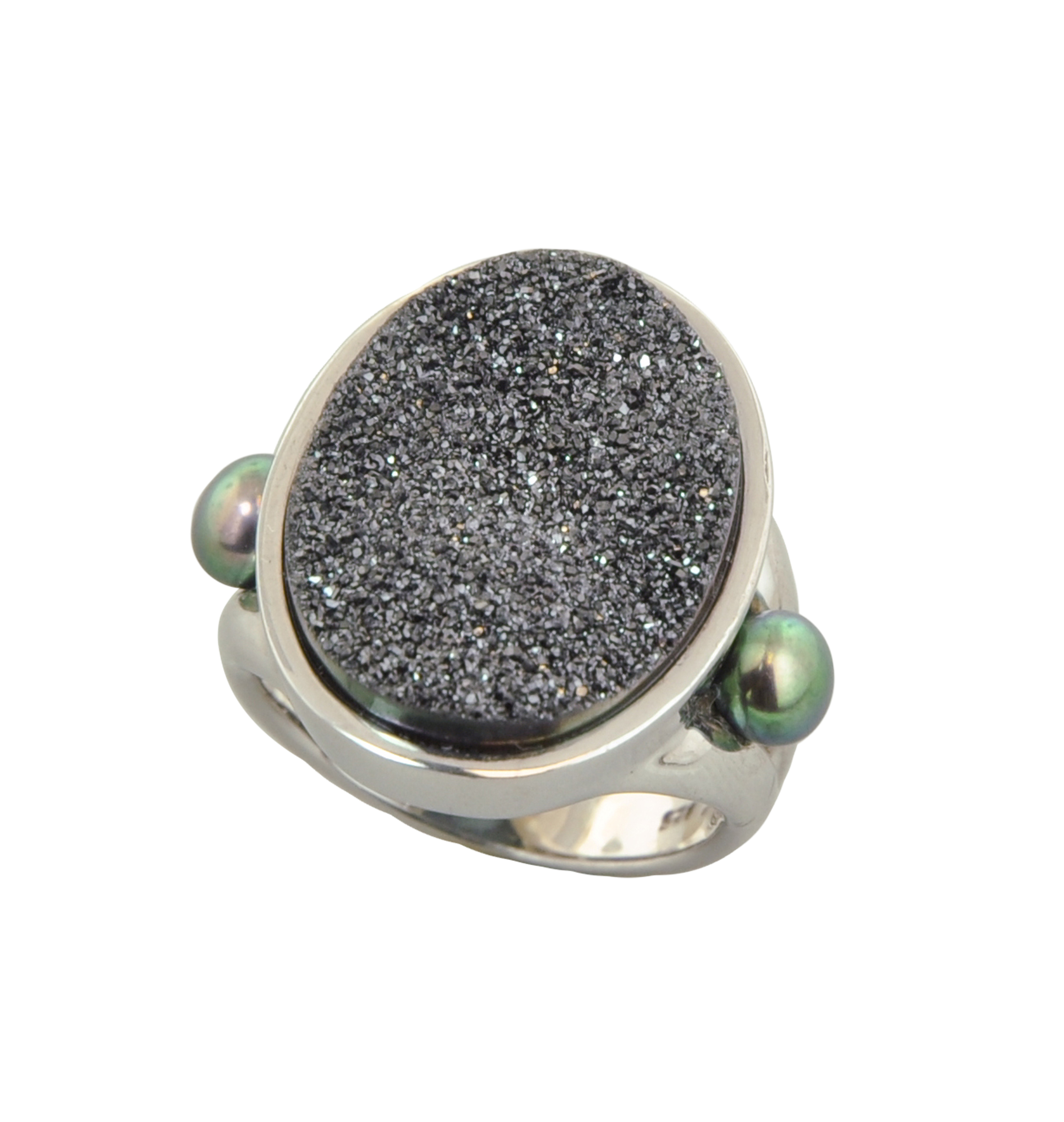 Sterling Silver 4.5-5mm Black Button Freshwater Cultured Pearl with Black Agate Druzy Ring