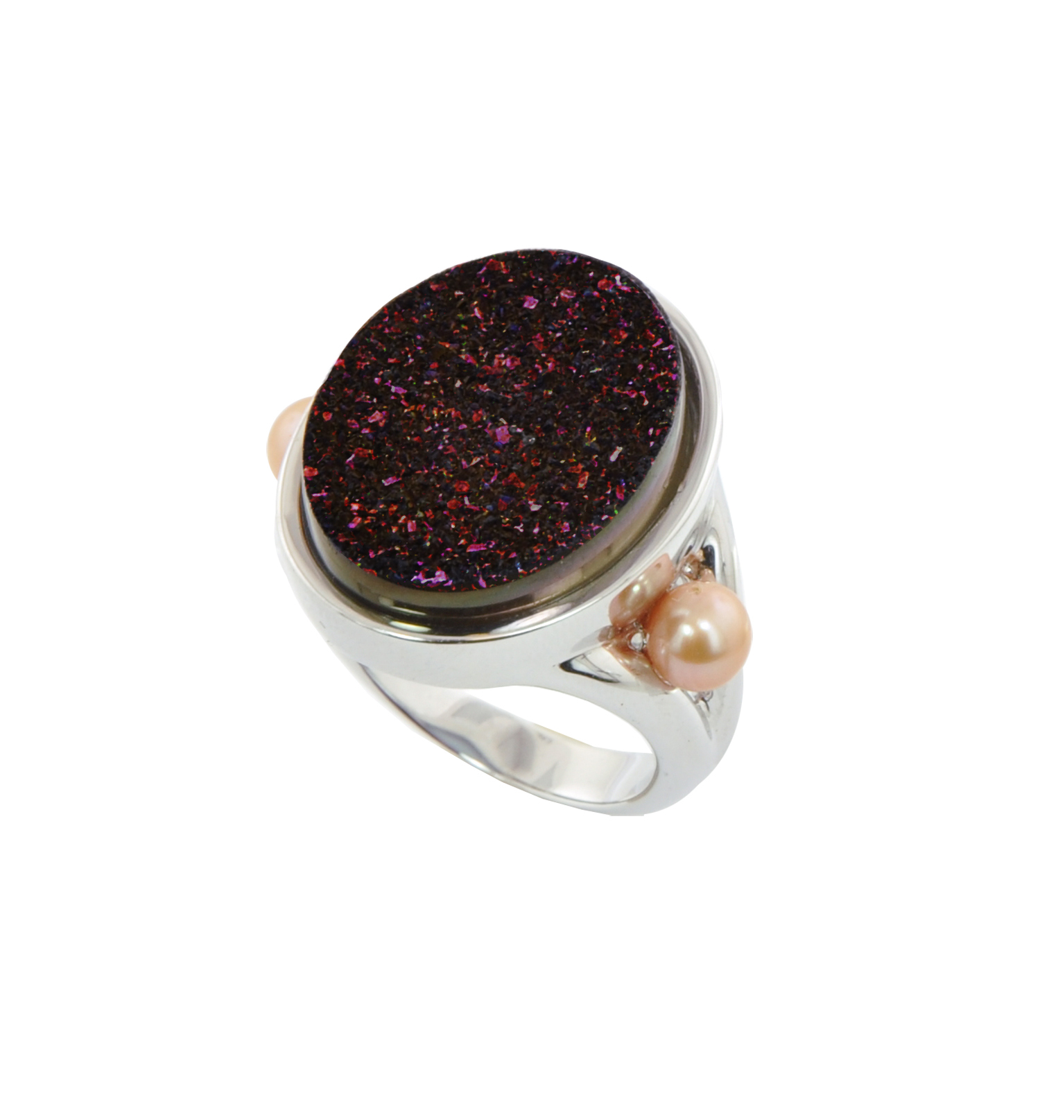 Sterling Silver 4.5-5MM Mocha Button Freshwater Cultured Pearl with Chocolate Agate Druzy Ring