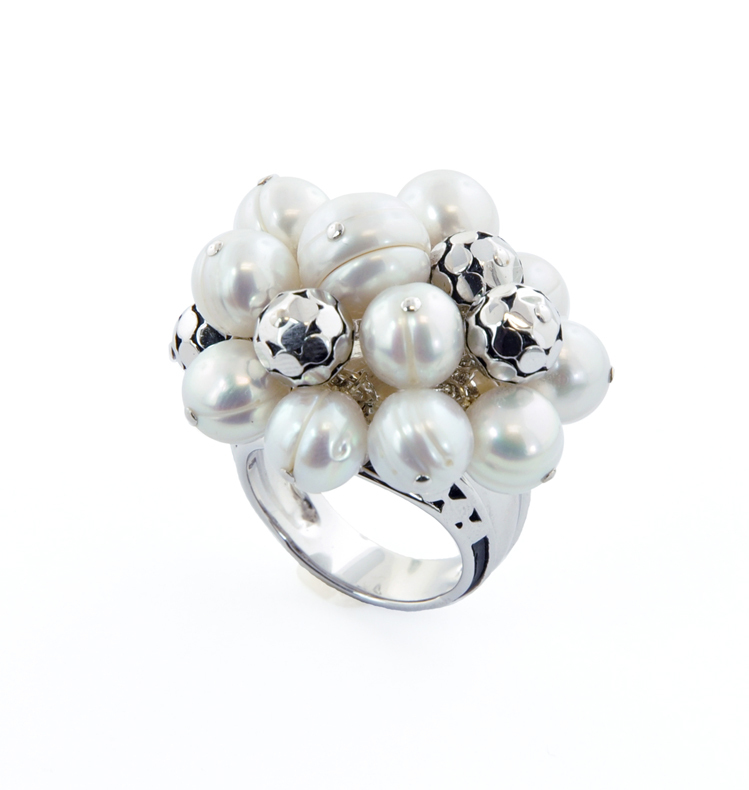 Sterling Silver 7-10MM White Round Ringed Freshwater Cultured Pearl Cluster Ring