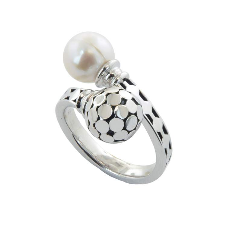 Sterling Silver 8-9MM White Round Ringed Freshwater Cultured Pearl Bypass Ring