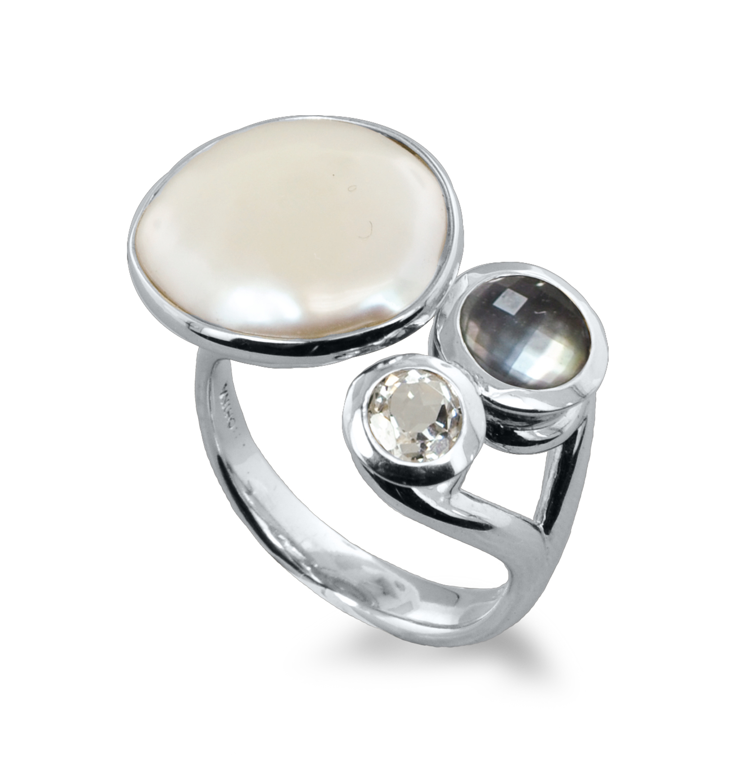 Sterling Silver 15-16mm White Baroque Coin Freshwater Cultured Pearl with Black Mother of Pearl and White Topaz Ring