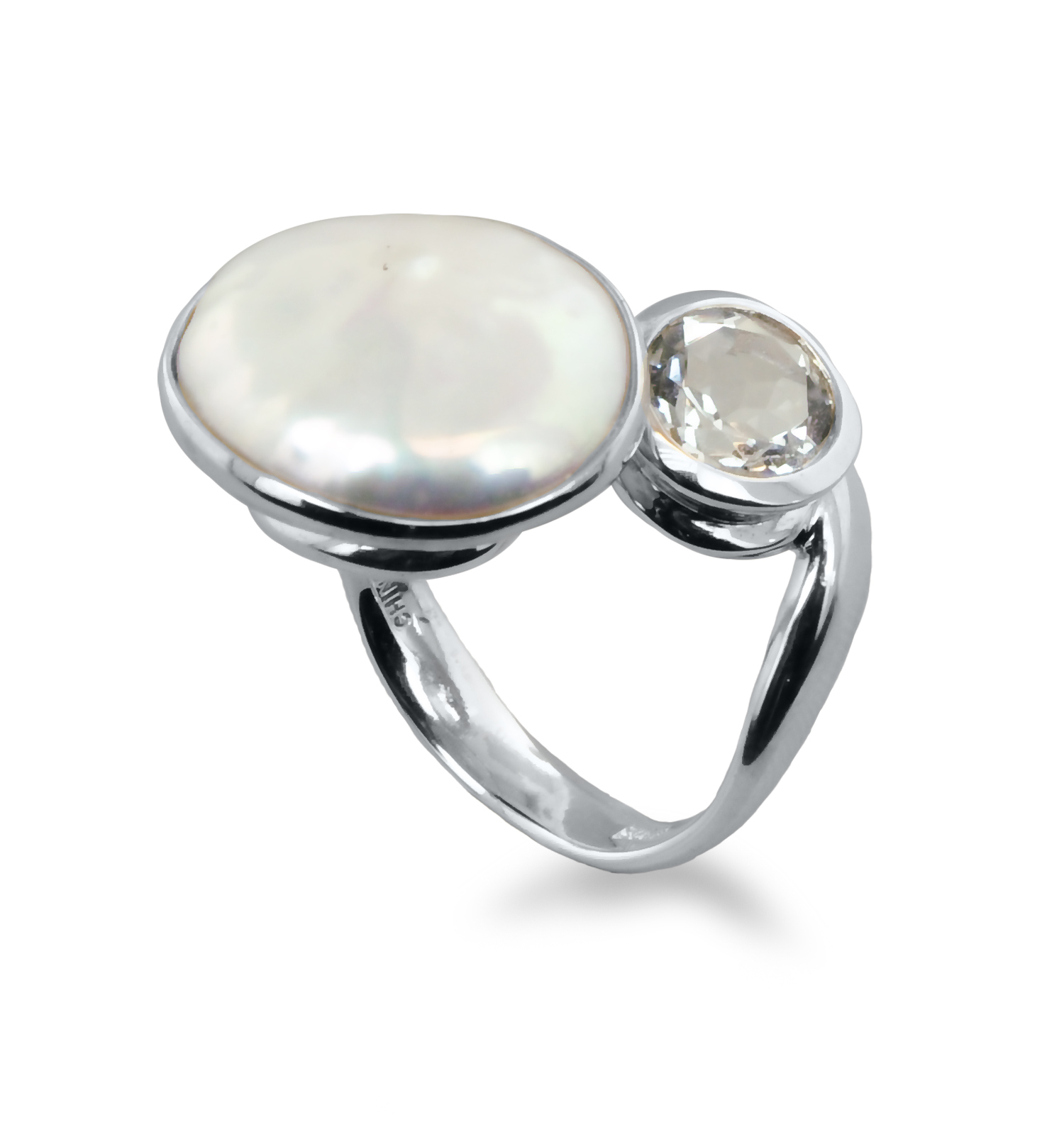 Sterling Silver 15-16mm White Baroque Coin Freshwater Cultured Pearl with White Topaz Ring