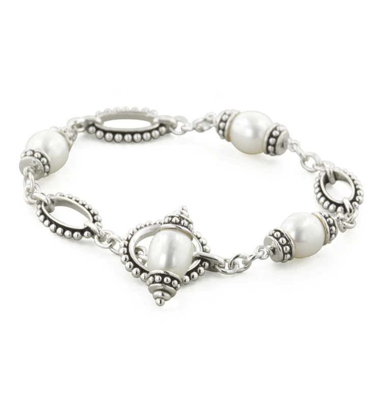 Sterling Silver 7.5-9MM White Freshwater Cultured Pearl 7.5 Pallini Toggle Bracelet