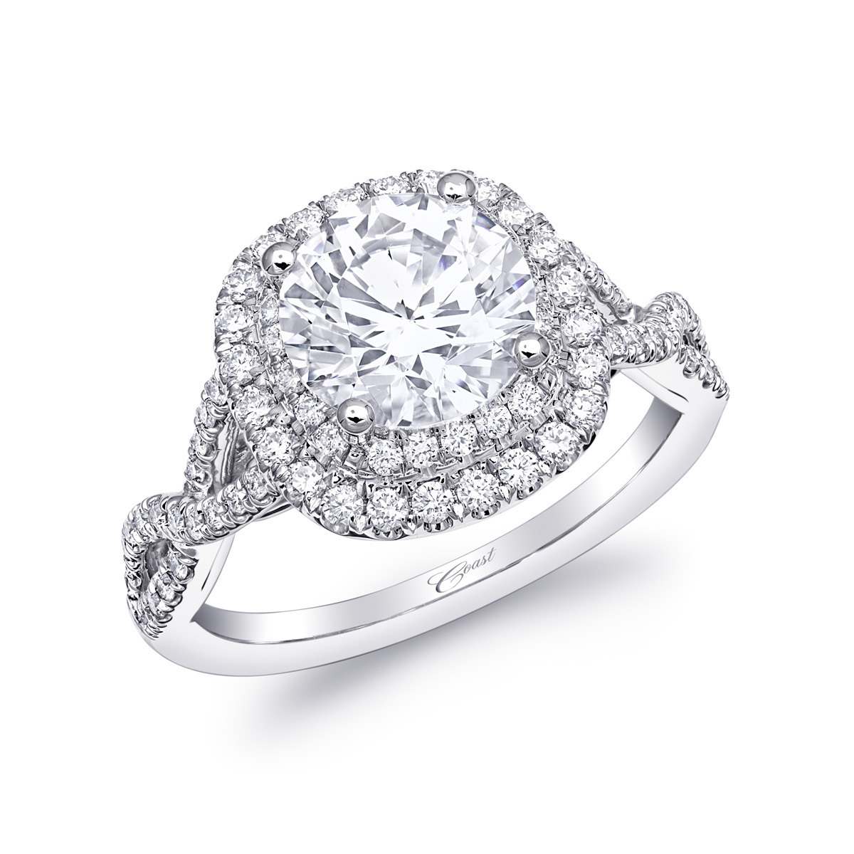 Charisma Engagement Ring - Double Halo Twist Shank