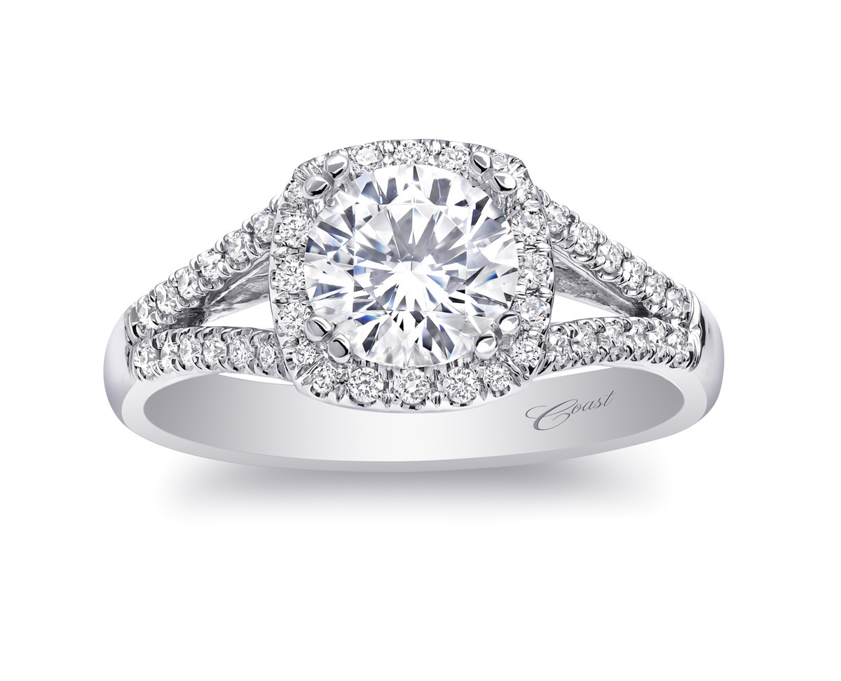 Charisma Engagement Ring - Cushion Halo & Split Shank