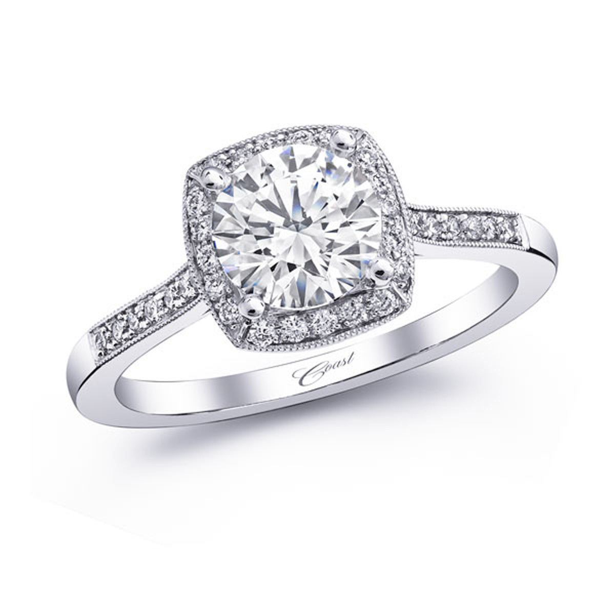 Romance Engagement Ring - Pave Diamond Halo