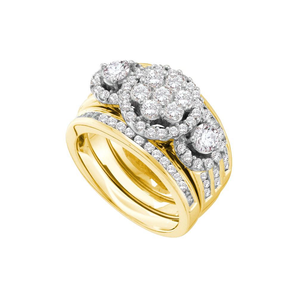 14kt White Gold Womens Round Diamond 3 Piece Bridal Wedding Engagement Ring Band Set 2 00 Cttw