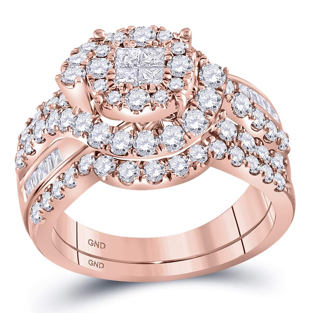 Rose Gold Wedding Ring.14kt Rose Gold Womens Princess Round Diamond Soleil Bridal Wedding Engagement Ring Band Set 1 3 4 Cttw