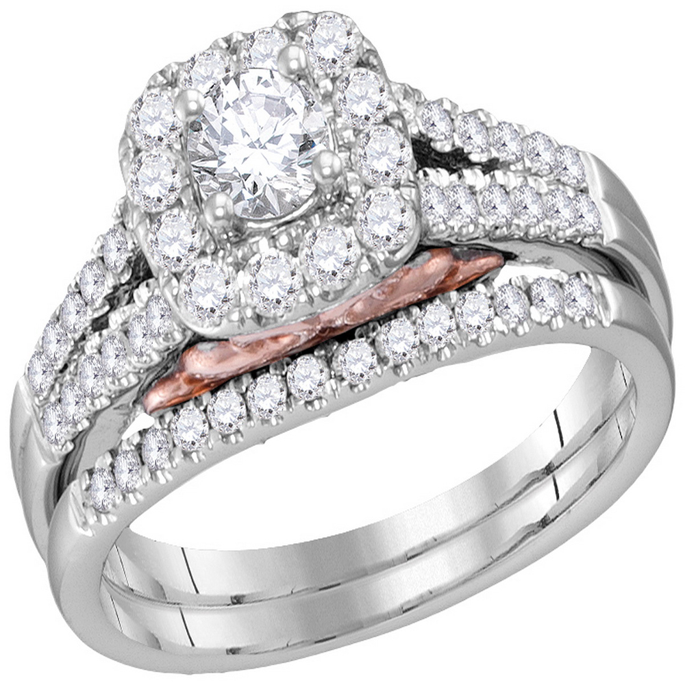 It is a photo of 38kt White Gold Womens Round Diamond Bellissimo Halo Bridal Wedding Engagement Ring Band Set 38.38 Cttw