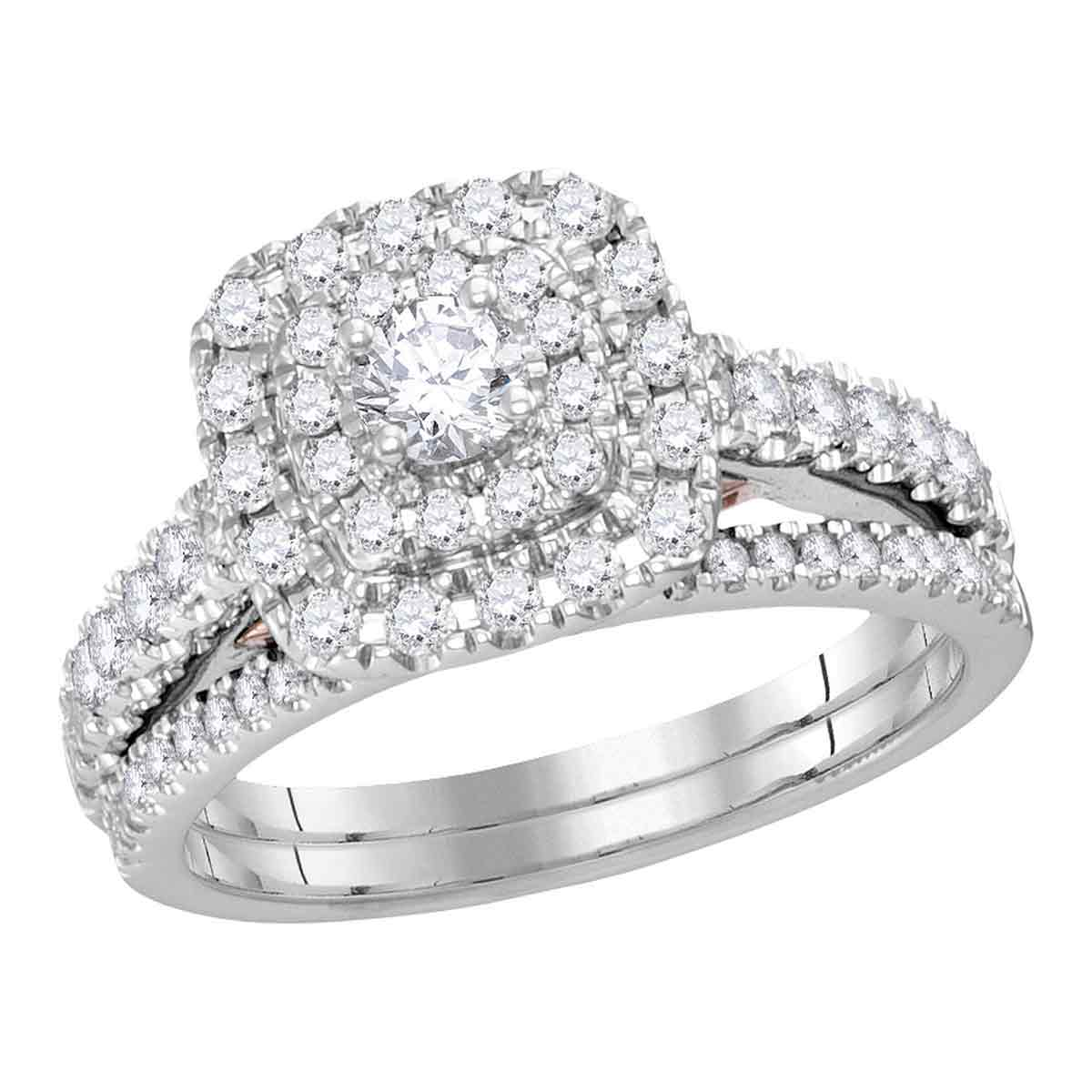 14kt White Gold Womens Round Diamond Bellissimo Double Square Halo