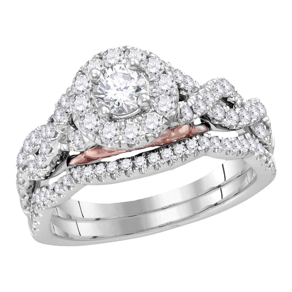 It is an image of female wedding rings white gold